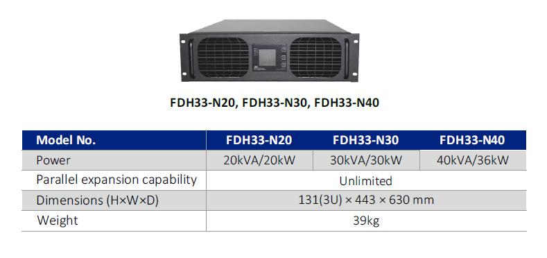 ماژول های 20 کاوا ، 30 کاوا و 40 کاوا مناسب یوپی اس دیتاسنتری سری FDH33-N